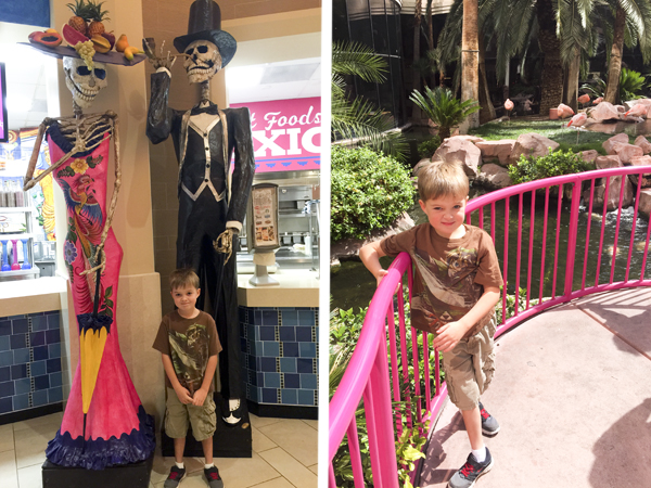 Little Man posing with some skeletons in the Forum Food Court and with the flamingos at the Hilton.